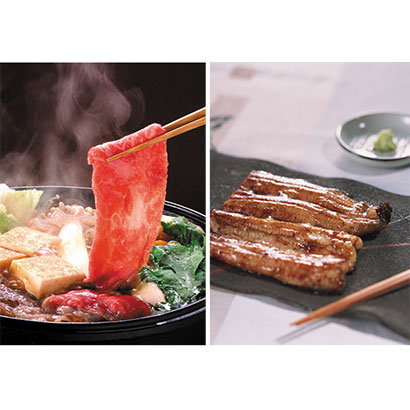 浜名湖 鰻蒲焼(80g×2)&黒毛和牛すき焼き肉(200g) 干物・漬魚・うなぎ・魚卵