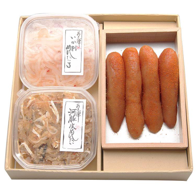 [あき津゛]「人気もの3点セット」 干物・漬魚・うなぎ・魚卵