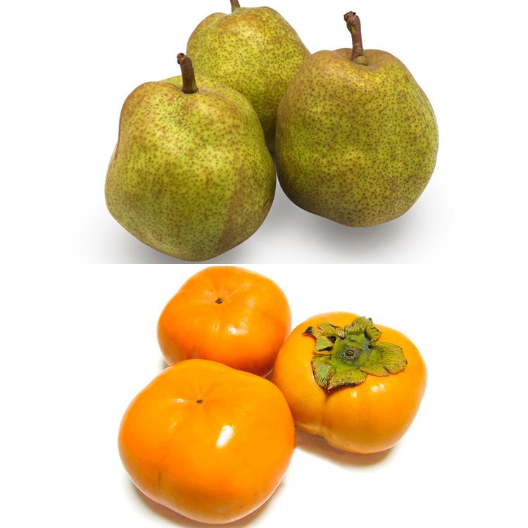 【食べ比べ】ラフランス(3個)&次郎柿(3個) 柿&洋ナシセット